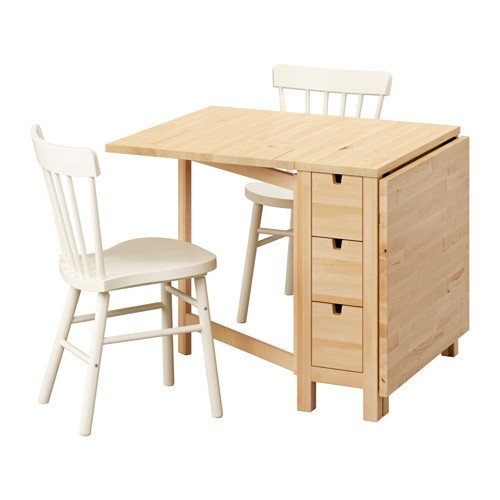 Ikea Table and 2 chairs, birch, white 14204.20514.3826
