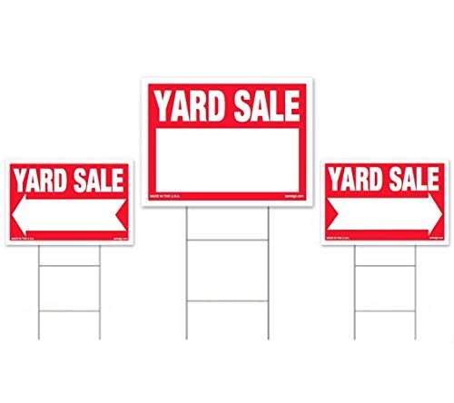 3-Pack Yard Sale Sign Kit - Double Sided Signs & H-Stakes - Red Property Signs 18 X 24 and 12 X 18 - Multi-Family or Single Family Garage Sales - High Visibility Signs with Directional Arrows