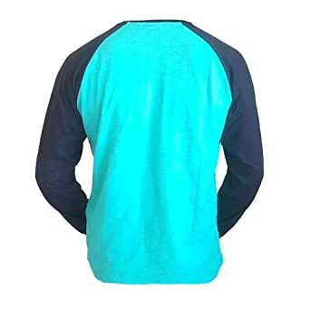 AM99 Turquoise Cotton Round Neck T-Shirt For Men