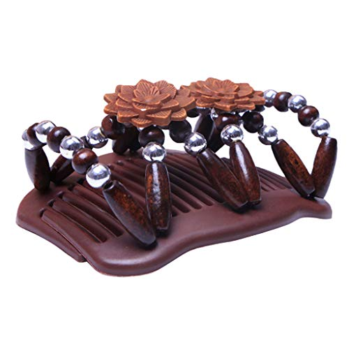 Fenteer Stretch Butterfly Wood Beads Double Hair Comb Clips Valentine's Gift - Light Brown