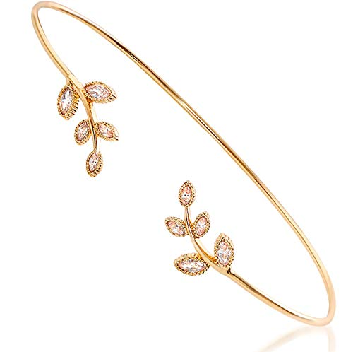 Humble Chic Leaf Cuff Bracelet - Adjustable Stackable Wire Crystal Dainty Arm Bangles for Women, Gold-Tone