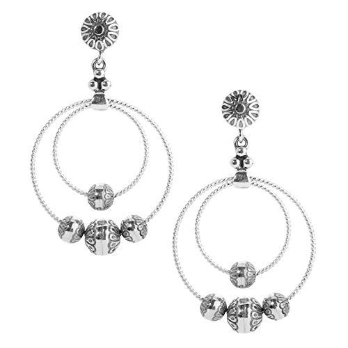 American West Sterling Silver Native Pearl Double Hoop Earrings