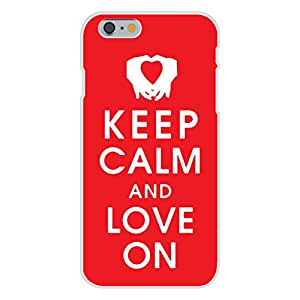 Apple iPhone 6+ (Plus) Custom Case White Plastic Snap On - Keep Calm and Love On w/ Hands & Heart on Red