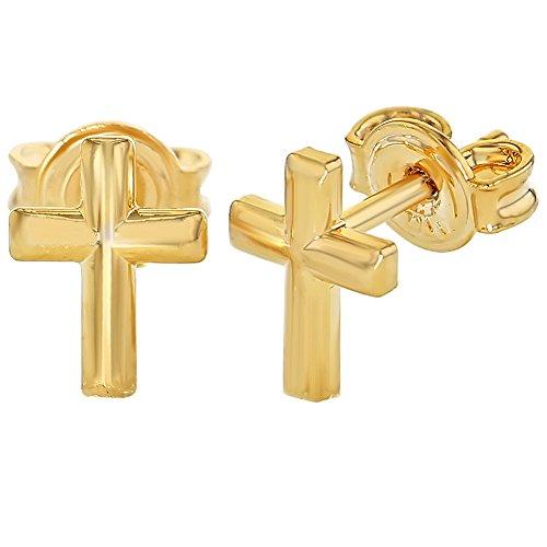 XS-Small Plaqué Or Boucles d'oreilles en forme de petites croix à dos en forme de Bébé Enfant