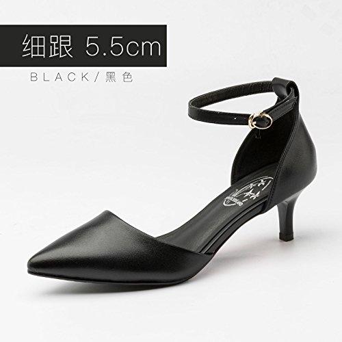 Baotou Tacones de Beige con Black Jqdyl Altos con Zapatos Huecos Primavera B Grueso de Hebilla Nuevos Tacones Zapatos Mujer avvfFqn