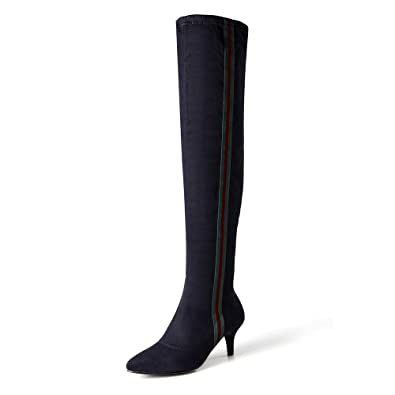98e3ad1192a LIURUIJIA Women s Stretch Faux Suede Striped Side Zipper Stiletto Heel Over  The Knee Thigh High Boots