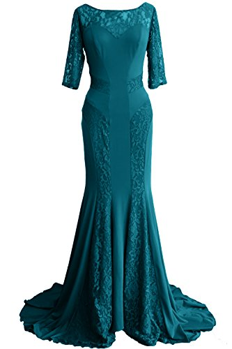 MACloth Women Mermaid Half Sleeve Lace Mother of Bride Dress Formal Evening Gown Teal 5zKqCvFsh