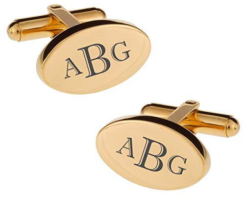 (Personalized Gold Oval Cufflinks Engraved Free Cuff)