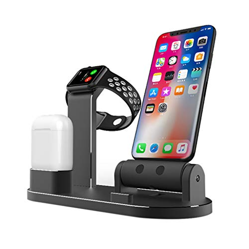 ❤SU&YU❤Aluminum Alloy Charging Dock Station Holder for iPhone for Apple Watch AirPods 2 (BK)