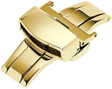 時計 ベルト 腕時計 バンド Dバックル プッシュボタン ブラック 18mm