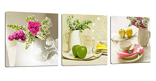 - Kitchen Canvas Art Fruits Flowers Canvas Prints Wall Art Decor Framed Ready to Hang - 3 Panels Modern Artwork Painting Contemporary Pictures for Dining Home Decoration