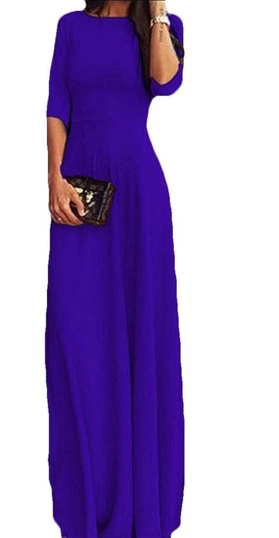 Yayu Womens Vintage Half Sleeves Floor Length Evening Cocktail Long Maxi Dress