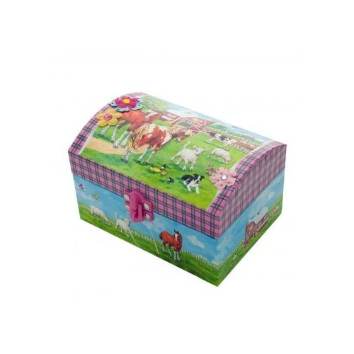 Knivel Horse Music Jewelry Box Ideal for Your Little Princess | Music Girls Toys | Musical Jewelry Case Box | Girls Jewelry Box | Music Box with Horse and Farm Design - Pink