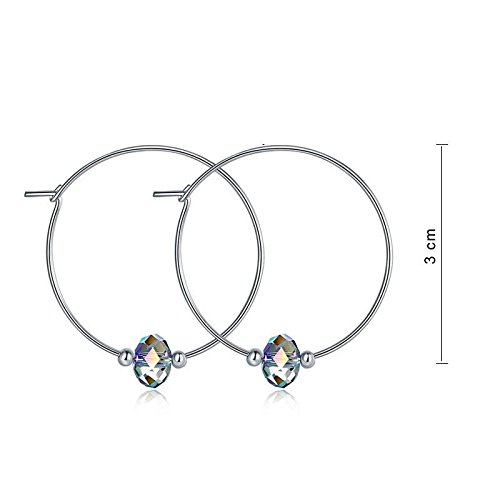 Exquisite Selebrity Top Quality 925 Sterling Silver Hoop Earrings AB Austrian Crystal Party Birthday Gift 136
