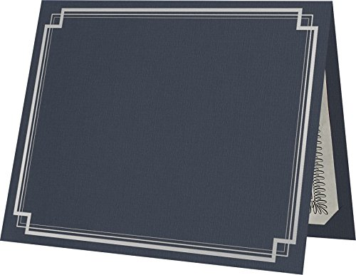 9 1/2 x 12 Certificate Holders - Dark Blue Linen - Silver Foil Square Border (50 Qty.) | Perfect for Award Recognition, Certificates, Documents and More! | (Paper Certificate Holder)