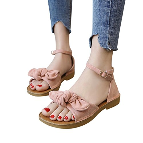 Lolittas Summer Gladiator Sandals for Women,Comfortable Beach Bowknot Heeled Platform Walking Peep Toe Slingback Lace up Wide Fit Go Walk Shoes Size 2-7 Pink
