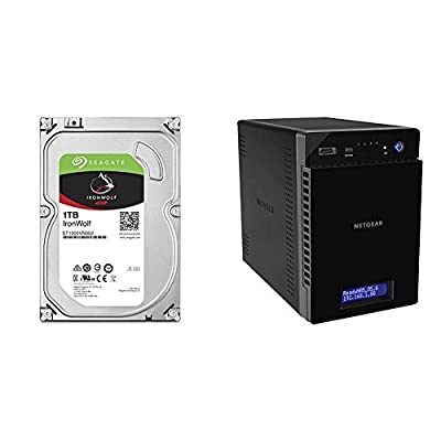 4 XSeagate 1TB IronWolf NAS SATA 6Gb/s NCQ 64MB Cache 3.5-Inch Internal Hard Drive with NETGEAR Ready NAS RN214 4 Bay Diskless Personal Cloud NAS