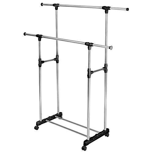 HEAVY DUTY-Double Adjustable Portable Clothes Rack Hanger Extendable Rolling (Space Coast Craigslist Garage Sales)