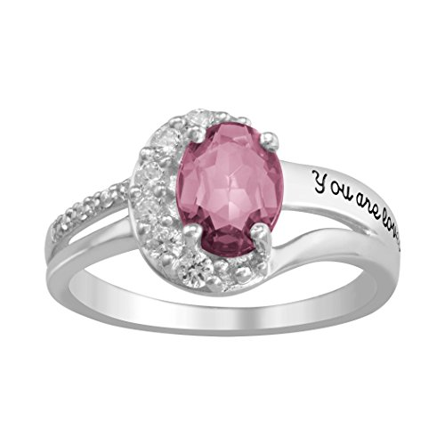ArtCarved Genuine Matriarch Pink Tourmaline Personalized Women's Ring, Sterling Silver, Size 9