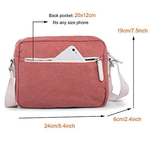Shoulder Rechor Bag Cross Multi Messenger Canvas Burgundy Unisex Light Lake Pockets Handbag Body Lightweight Casual Blue W1SqXF1r