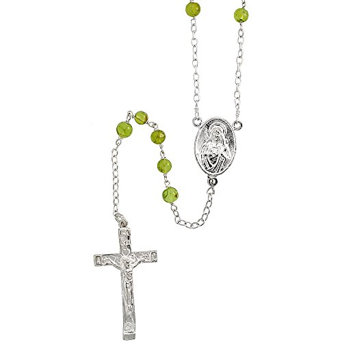 Crucifix Peridot (Sterling Silver Natural Peridot Rosary Necklace 6mm Beads Mother Mary & Sacred Heart of Jesus Center, 30 inch)