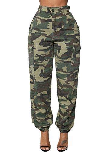 (Joyfunear Women's Casual Camouflage Loose Elastic Buttons Cargo Pants with Pockets Camouflage Small)