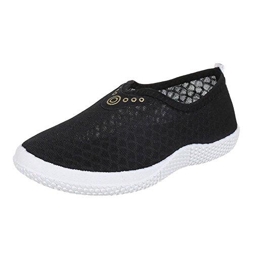 Ital-Design Damen Schuhe, AD-610, Halbschuhe Slipper Freizeitschuhe Schwarz