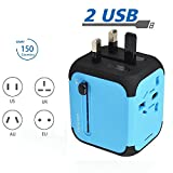 Travel Adapter, New Universal Travel USB Adapter Travel Chargers Adapters for Uk/EU/US/AU about 150 Countries Wall Universal Power Plug Adapter Charger with Dual USB and Safety Fuse (Blue)