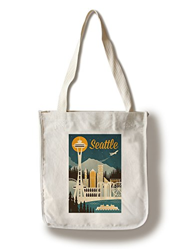 Seattle, Washington - Retro Skyline (100% Cotton Tote Bag - Reusable) (Washington Retro Color)