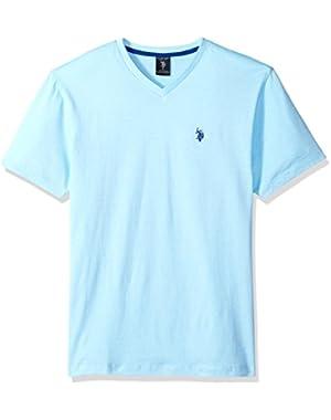 Men's Short Sleeve V-Neck Solid T-Shirt