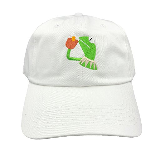 Kermit The Frog Dad Hat Cap Sipping Sips Drinking Tea Champion Lebron  Costume (White) ed2a003405cd