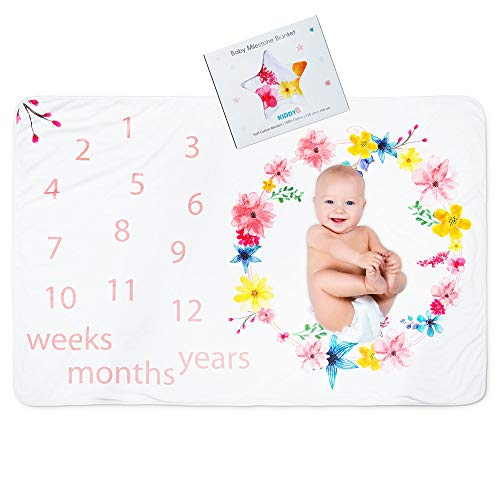 Baby Monthly Milestone Blanket - Super Soft Blanket for Photo Props with Infant Girl, Include Weeks Months and Years to Capture Growth Milestones, Great as Baby Shower Gift