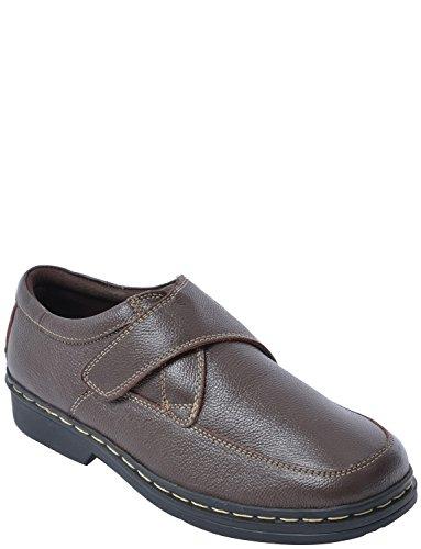 Herren Echtes Leder Breite Touch-Anklemmschuhe Fit Braun