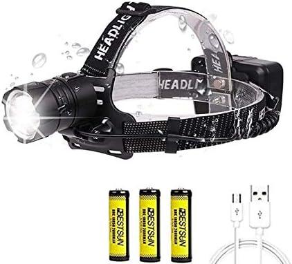 LUXJUMPER Linterna Frontal LED Recargable, XHP70 10000 Lúmenes Alta Potencia LED Lámpara de Cabeza Zoomable 3 Modos Linterna Frontale Impermeable para ...