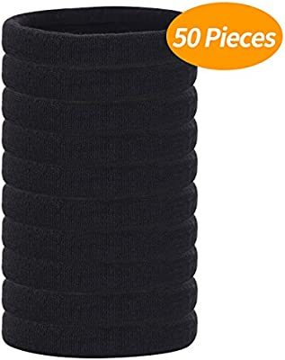 60 Pieces Soft Elastic Black Thick Hair Bands Large Cotton Stretch Hair Ties for