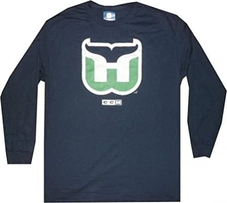 9fede5e83 Amazon.com   Hartford Whalers Throwback CCM Long Sleeve Navy Shirt ...