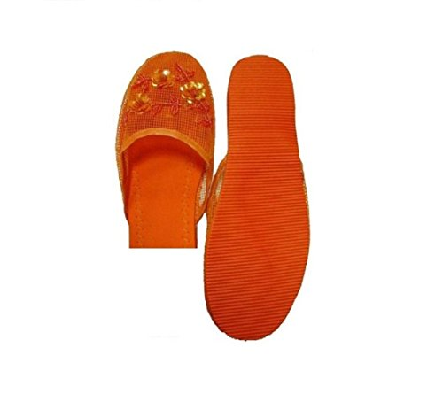 Pantoufles En Maille Femme Usa Easy Avec Orange Paillette