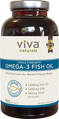 viva naturals omega 3 fish oil supplement 180 softgels