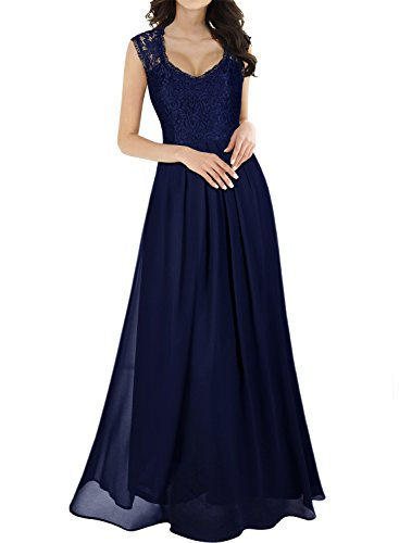 Miusol Women's Casual Deep- V Neck Sleeveless Vintage Maxi Black Dress (Medium, Navy Blue)