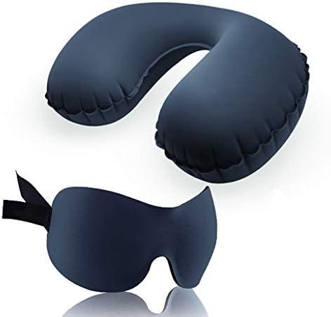 by Alaska Bär Schlafmaske, Travel Kit Aufblasbare Kissen Schlaf Augenmaske Outdoor Portable Travel Supplies Aufblasbare Kissen Set Ohrstöpsel (Farbe : A)
