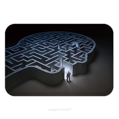 Flannel Microfiber Non-slip Rubber Backing Soft Absorbent Doormat Mat Rug Carpet Man Entering A Maze Inside A Head D Illustration 412619059 for Indoor/Outdoor/Bathroom/Kitchen/Workstations