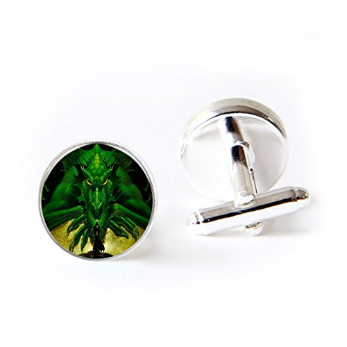 Mens Classic Initial Cufflinks Green Vintage Dragon Shirt Cufflinks 2PCS For Formal Business Wedding Dragon Green Cufflinks