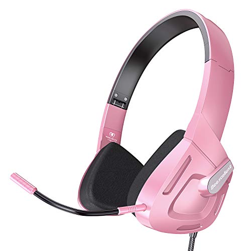 VersionTECH. Stereo Gaming Headset, Foldable On-Ear Headphone Eadphones with Detachable Microphone, 30MM Speaker Driver Unit for Telephone Chat, PC, PS4, New Xbox One Controller, Cellphones - Pink 30 Mm Driver Unit