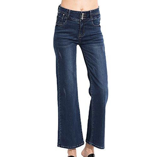 Fonc Casual de de Pantalon Automne Bell pour Dame Taille Femme Bleu lgant Haute Jeans Dooxi xnwRq60fzU