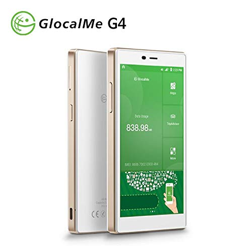 GlocalMe G4 4G LTE Mobile Hotspot, Worldwide High Speed WiFi Hotspot with 1GB Global Data & 8GB US Data, No SIM Card Roaming Charges International Pocket WiFi Hotspot MIFI Device-White