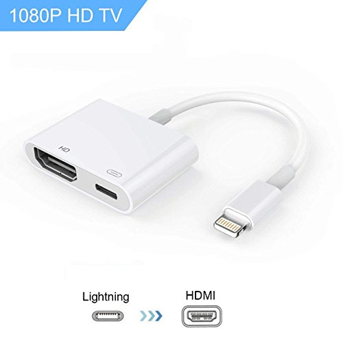 Lightning to HDMI, Lightning Adapter Cable, 1080P Lightning Digital AV Adapter, Sync Screen HDMI Connector with Charging Port for Select iPhone/iPad Models, Support IOS11 (White) by soloer