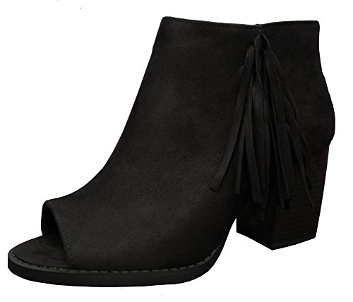 Soda Women's Sueded Fringe Peep Toe Chunky Stacked Heel Bootie