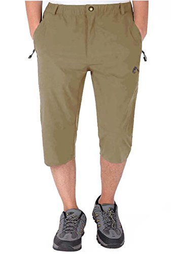LASIUMIAT Men's Outdoor Summer Running Pants Capri Pants 3/4 Outdoor Sports Hiking Cycling Cropped Trousers Khaki