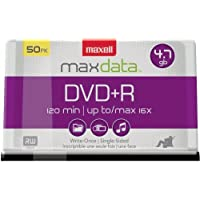 Maxell MAX639013 DVD Recordable Media, DVD+R, 16x, 4.70 GB, 50 Pack Spindle