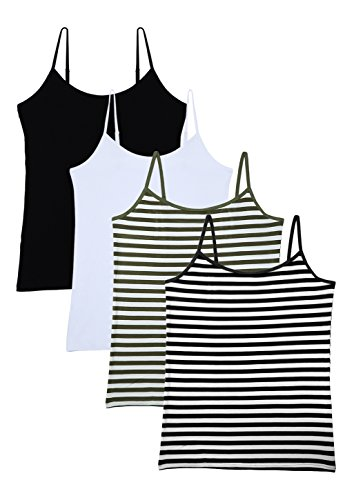(Vislivin Women's Basic Solid Camisole Adjustable Spaghetti Strap Tank Top Black/White/Gree/Black Stripe M)